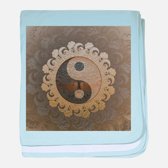 Yin Yang in tan colors with tree of life. baby bla