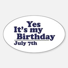 July 7 Birthday Oval Decal