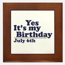 July 6 Birthday Framed Tile
