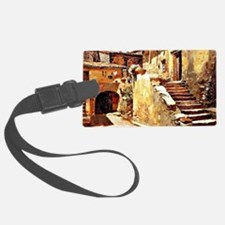 Italian Courtyard, Painting by F Luggage Tag