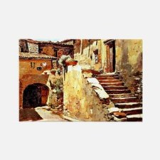 Italian Courtyard, Painting by Fr Rectangle Magnet