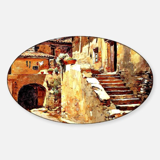 Italian Courtyard, Painting by Fran Sticker (Oval)