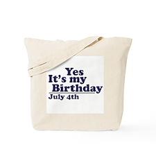 July 4 Birthday Tote Bag