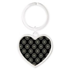 Cream & Black Damask #38 Heart Keychain