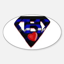 LEATHER SUPER BEAR/TILE LOOK Oval Decal
