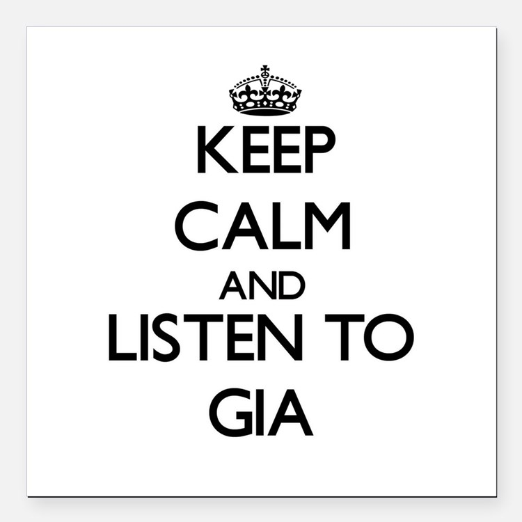 """Keep Calm and listen to Gia Square Car Magnet 3"""" x"""