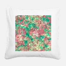 Summer Turquoise Watercolor F Square Canvas Pillow
