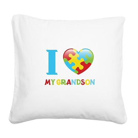 I Love My Grandson Square Canvas Pillow