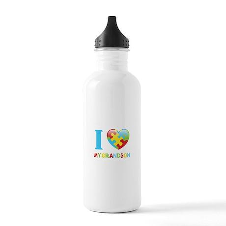 I Love My Grandson Water Bottle