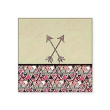"Retro Tribal Arrows Vintage Square Sticker 3"" x 3"""