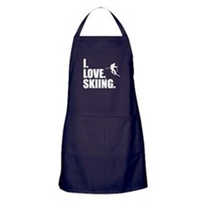 I Love Skiing Apron (dark)