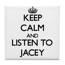 Keep Calm and listen to Jacey Tile Coaster