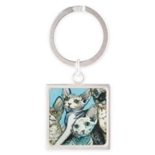 Sphynx Kittens Square Keychain