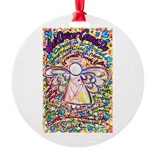 Spring Hearts Cancer Angel Round Ornament