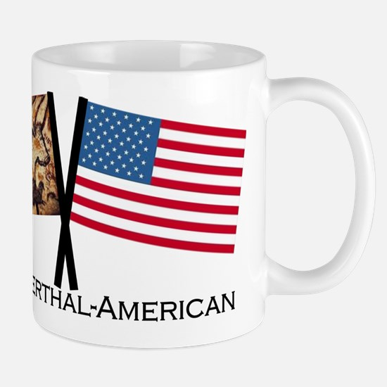 Neanderthal-American Crossed Flags Mugs