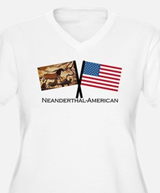 Neanderthal-American Crossed Flags Plus Size T-Shi