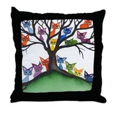 Vista Stray Cats in Tree Throw Pillow