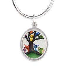 Vista Stray Cats in Tree Silver Oval Necklace
