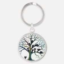 Culpeper Stray Cats in Tree Round Keychain