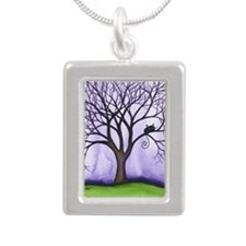Newton Stray Cat in Tree Silver Portrait Necklace