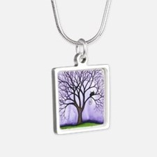 Newton Stray Cat in Tree Silver Square Necklace