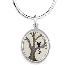Glendora Stray Cat in Tree Silver Oval Necklace
