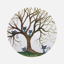 Sedalia Stray Cats in Tree Round Ornament