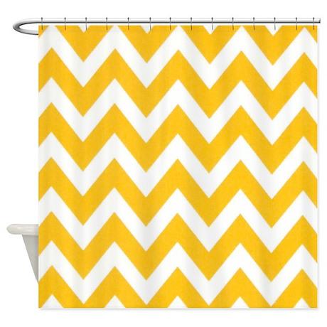 Warm Yellow Chevron Shower Curtain By Chevroncitystripes