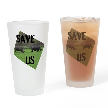 Save the Rhinos Drinking Glass