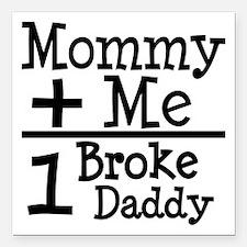 "Mommy Plus Me Square Car Magnet 3"" x 3"""