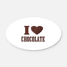 I Love Chocolate Oval Car Magnet