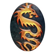 Golden Dragon Oval Ornament