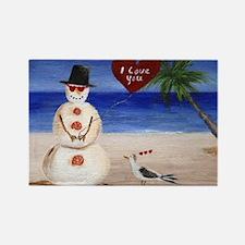 Beachy Valentine Sandman Rectangle Magnet