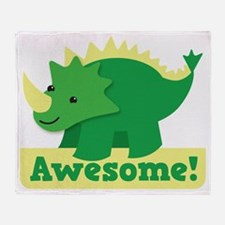 Green Dinosaur AWESOME cute! Throw Blanket