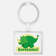 Green Dinosaur AWESOME cute! Landscape Keychain