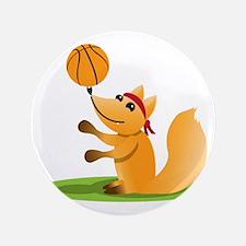 "Basketball playing fox 3.5"" Button"