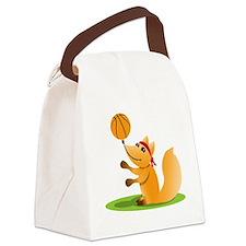 Basketball playing fox Canvas Lunch Bag