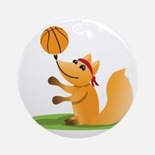 Basketball playing fox Round Ornament
