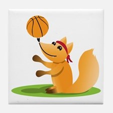 Basketball playing fox Tile Coaster