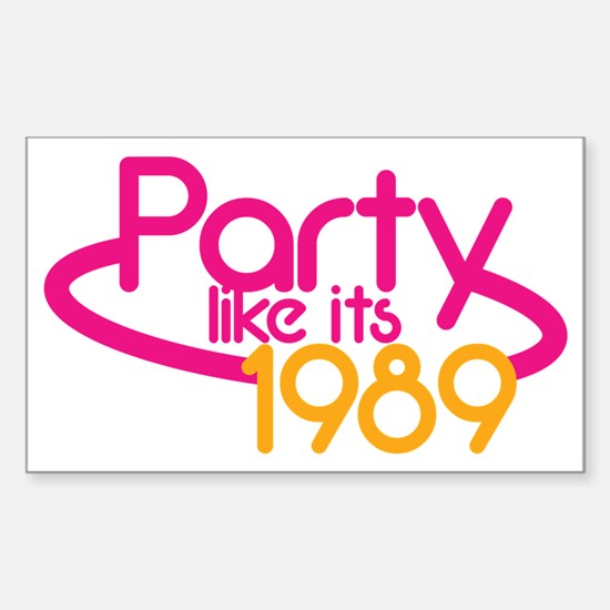 PARTY like it's 1989 in fluro  Sticker (Rectangle)