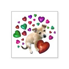 """Puppy Hearts Love Square Sticker 3"""" x 3"""""""