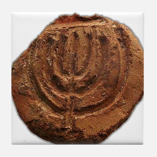 Ancient Menorah Tile Coaster