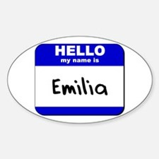 hello my name is emilia Oval Decal