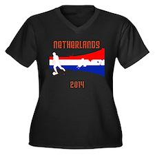 Netherlands World Cup 2014 Women's Plus Size V-Nec