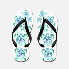 Tribal Turtle Flip Flops
