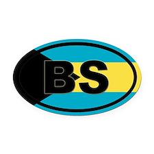 Bahamas BS flag Oval Car Magnet
