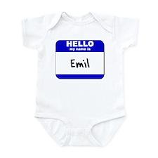 hello my name is emil  Infant Bodysuit