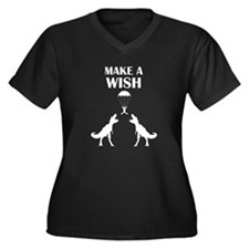TRex Make a Wish Women's Plus Size V-Neck Dark T-S