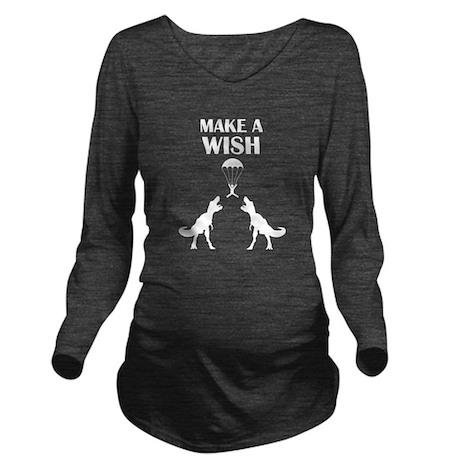 TRex Make a Wish Long Sleeve Maternity T-Shirt