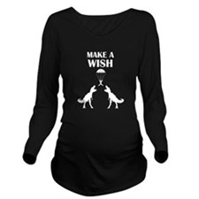TRex Make a Wish Long Sleeve Maternity T-Shirt